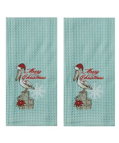 Holiday Pelican Waffle Embroidered Hand Towel - Set of Two #zulily #zulilyfinds