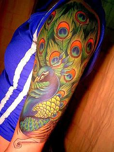 Peacock Tattoo Design on Sleeve, Beautiful Sleeve Peacock Tattoos, Tattoos of Blue Color Peacock, Birds, Parts,