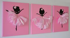 Dancing Ballerinas Wall Art. Set of three dancing by FlorasShop