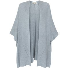 Repeat Cashmere Grey Finely Ribbed Kimono Cardigan ($225) ❤ liked on Polyvore featuring tops, cardigans, jackets, grey, loose cardigan, loose fit tops, open front cardigan, cardigan kimono and repeat cashmere