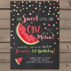 Watermelon Birthday invitation One In A Melon by Anietillustration