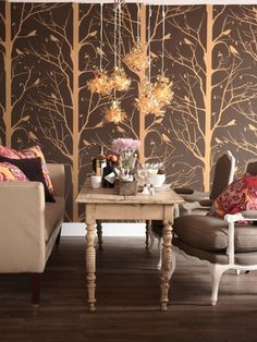 Blackbird in Brown and Gold available at walnut wallpaper #wallpaper