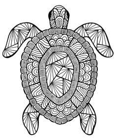Free printable summer coloring pages for kids: Intricate turtle