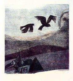 Heiner Bauschert, Vögel über dunkler Landschaft, woodcut