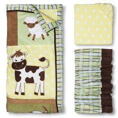 Trend Lab Baby Barnyard 3Pc Crib Bedding Set - Sage