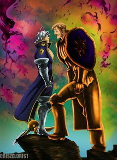 Estarossa(Mael) vs Escanor from Nanatsu no Taizai Otaku Anime, Manga Anime, Anime Art, Escanor Seven Deadly Sins, Meliodas Vs, 7 Sins, Seven Deady Sins, Demon King, The Seven