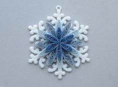 Snowflake with Blue Quilled Center