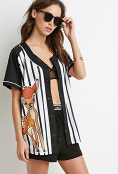 Bambi Graphic Baseball Jersey | Forever 21 - 2000155061 with a white tee shirt