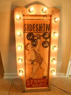 "Vintage Carnival Freakshow Sideshow Sign ""Strong Man"" Lighted Panel 