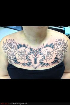 chest tattoos for women - Google Search