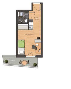 grundriss studentenwohnung   Studentenwohnheim unity Beta - Apartmenttyp 2a ca. 23,00 m² mit ...