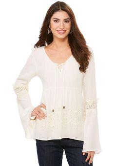 #Lace Inset High-Low Poet Top Tops #CatoFashions #boho