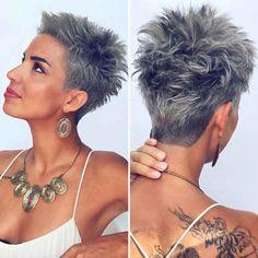 Funky Short Hair, Short Choppy Hair, Short Grey Hair, Short Hair Cuts For Women, Short Hair Styles, Super Short Hair, Black Hair, Undercut Hairstyles Women, Short Spiky Hairstyles