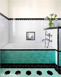 bathroom with colorful tile 1930s bathroom design from 1930S Bathroom Tiles