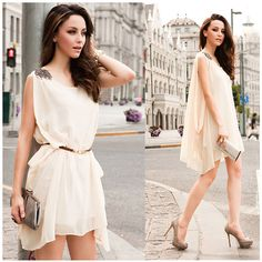 1pc Free Shipping 2013 Summer Sexy Sleeveless Sundress w/ Belt for Women OL Lady Girl Chiffon Casual Mini Dress Solid Free Size on Etsy, $13.99