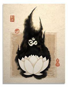 White Lotus and Om Symbol Art Print