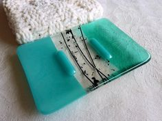 Pale Aquamarine Glass Soap Dish handmade by BPR Designs.