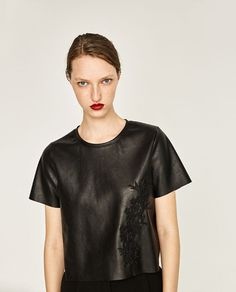 EMBROIDERED FAUX LEATHER T-SHIRT from Zara