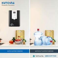 Eliminate clutter from your kitchen with water purifiers from #Kutchina. #DesignedForConvenience #HeartOfAHome