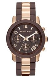 Michael Kors 'Silicone Runway' Rose Gold Chronograph Watch