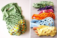 Upcycle t-shirts you no longer use into reusable produce bags T Shirt Recycle, T Shirt Diy, Upcycle, Tee Shirts, Tees, Reuse Recycle, Sewing Clothes, Diy Clothes, Outfit