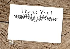 Printable 4 x 6 Black and White Thank You Laurel Wreath Index Cards, for Occasions, Events or Business - Modern PDF Cards - Instant Download