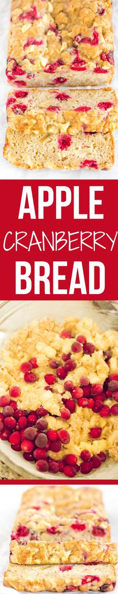 This apple cranberry bread is incredibly easy, packed with apples, has a little tartness from the cranberries, is super moist and a fall baking staple!