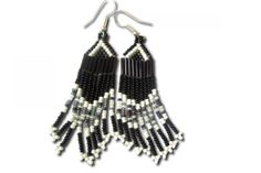 Nchebe Black and White Beaded Earrings