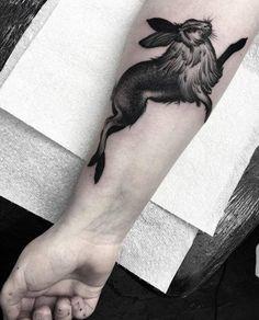 Arm Rabbit Tattoo by Parliament Tattoo Original Tattoos, Beautiful Tattoos, Cool Tattoos, Anime Tattoos, Rabbit Tattoos, Celtic Tattoos, Tattoo Symbols, Fire Tattoo, London Tattoo