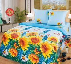 Купить голубое постельное белье с яркими подсолнухами 3D поплин