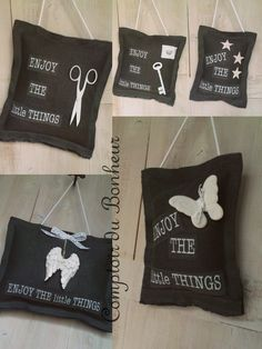Comptoir du Bonheur Enjoy the little things. Little Things, Creations, Throw Pillows, Couture, Sewing, Tampons, Decor Ideas, Messages, Lavender