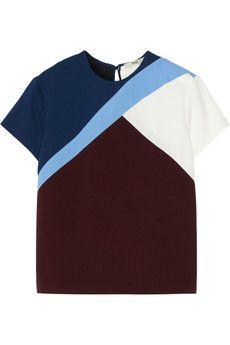 Fendi Color-block stretch-cady top | NET-A-PORTER