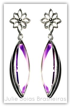 Brincos em prata 950 e ametista lavanda (950 silver earrings with lavender amethyst)