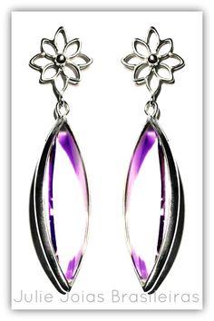 Brincos em prata 950 e ametista lavanda (950 silver earrings with lavender amethyst)