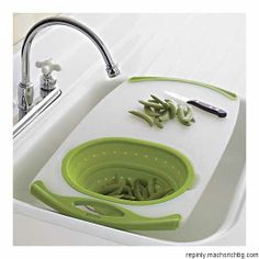 Over-the-sink cutting board and strainer from Crate & Barrel