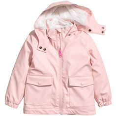 Pile-lined Rain Jacket $39.99 (24.880 CLP) ❤ liked on Polyvore featuring outerwear, jackets, waterproof rain jacket, fleece-lined jackets, lined waterproof jacket, lined rain jacket and pink zip jacket