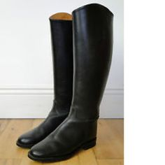 "Gorgeous Vtg Tall Black Leather Riding Boots, Women's sz 6.5 (medium width). The boots stand 20"" tall (measured heel to highest point) and 3 2/3"" at the widest. Made in England, these boots are made with pricey leather and are lined with very supple calfskin leather on the top 5"" of the interior-nicely broke-in. Leather soles are excellent and solid! Heels have no uneven wear. Absolutely no rips, stains, nor odors; very light scuffing is visible. Still. a very solid boot!"
