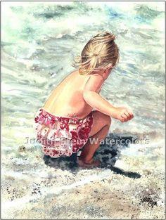 SEA FREEDOM Beach Girl 11x15 Giclee Watercolor Art Print. $40.00, via Etsy.
