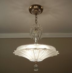 Vintage SUNFLOWER Chandelier Art Deco Antique Frosted Pressed Glass Ceiling Light Fixture - Rewired