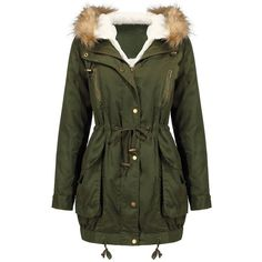 Yoins Yoins Drawstring Waist Parka Coat ($61) ❤ liked on Polyvore featuring outerwear, coats, jackets, coats & jackets, tops, black, hooded coat, faux fur trim coats, parka coat and hooded parka