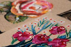 Handpainted Flower Note Card on Handmade Paper (Maha)