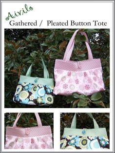 Purse Sewing Pattern pdf - Aivilo Gathered / Pleated Tote Bag - Easy to sew - Instant Download