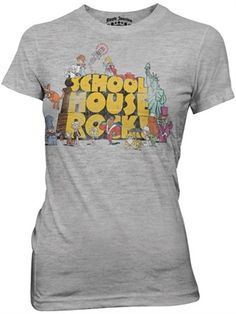 This officially licensed Ladies School House Rock shirt features the logo with characters from the animated series, which originally ran on ABC's Saturday morning programming from 1973 through 1985.    Fabric Details  Color: Athletic Gray  90% cotton / 10% polyester  Our Price: $17.95  - See more at: http://www.oldschooltees.com/Ladies-School-House-Rock-Logo-Shirt-p/shr008.htm#sthash.avvPvrBM.dpuf