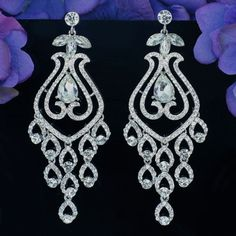 Gorgeous Rhodium Plated Clear Crystal Rhinestone Bridal Chandelier Earrings #Chandelier