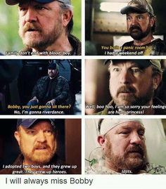Bobby Singer, my favourite Supernatural character. Supernatural Bobby, Supernatural Quotes, Jared Padalecki, Misha Collins, Jensen Ackles, Emmanuelle Vaugier, Try Not To Cry, Comic, Winchester Boys