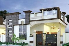 Single Floor House Elevation Design - Home Design House Front Wall Design, Single Floor House Design, Village House Design, Kerala House Design, House Floor, Door Design, Building Elevation, House Elevation, 2bhk House Plan