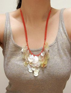 Shadow of a Tree - Mother of pearl shell necklace ~ Nikisha