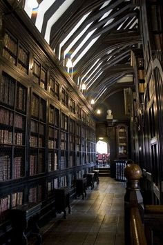 The interior of Chetham's Library in Manchester, England; the oldest library in the country.