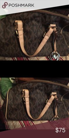 MK purse Brown and Tan with Signature MK.. Authentic Michael Kors Bags Satchels