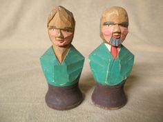 Vintage Wooden Hand Carved Man and Woman Salt and Pepper Shakers  R Audet